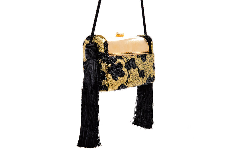 Régine Tassel Minaudière in Gold Cherry Blossom Lurex