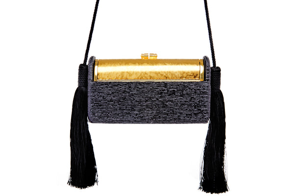 Régine Tassel Minaudière in Black Pleated Metallic Lurex