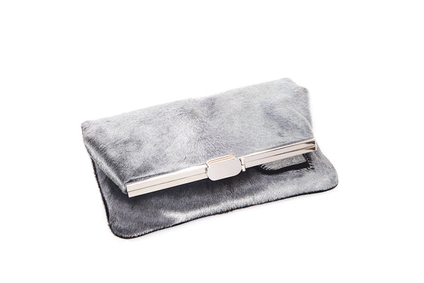 PM Clutch in Silver Calf Hair