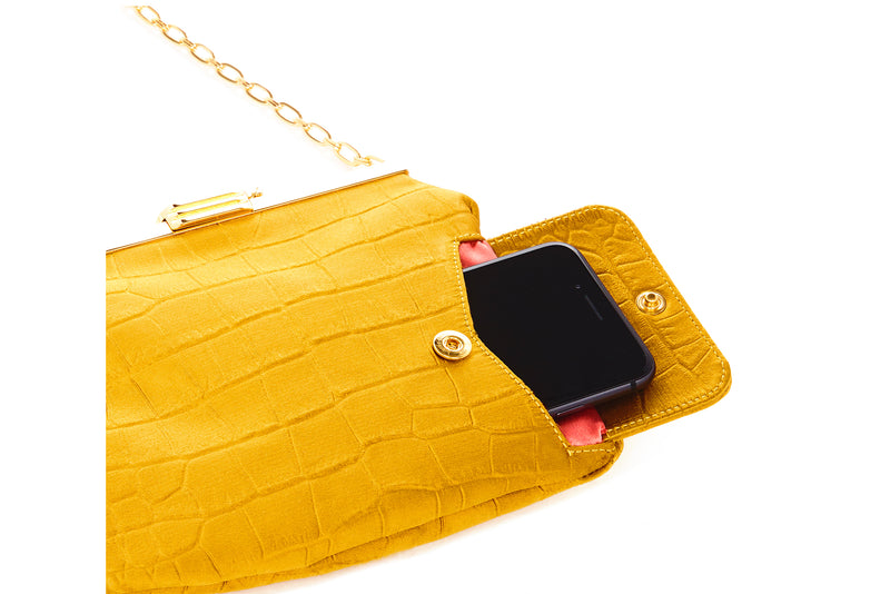 4 AM Bag in Gold Crocodile Embossed Satin