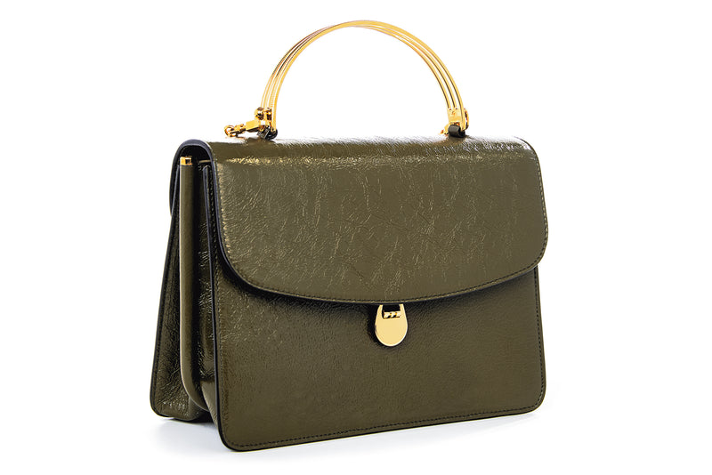 Charlie Top Handle Bag in Army Green Leather
