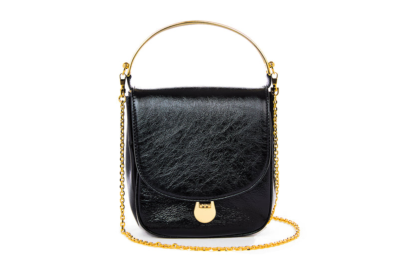 Angel Top Handle Bag in Black Leather