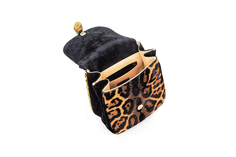 Angel Top Handle Bag in Leopard Printed Calf Hair