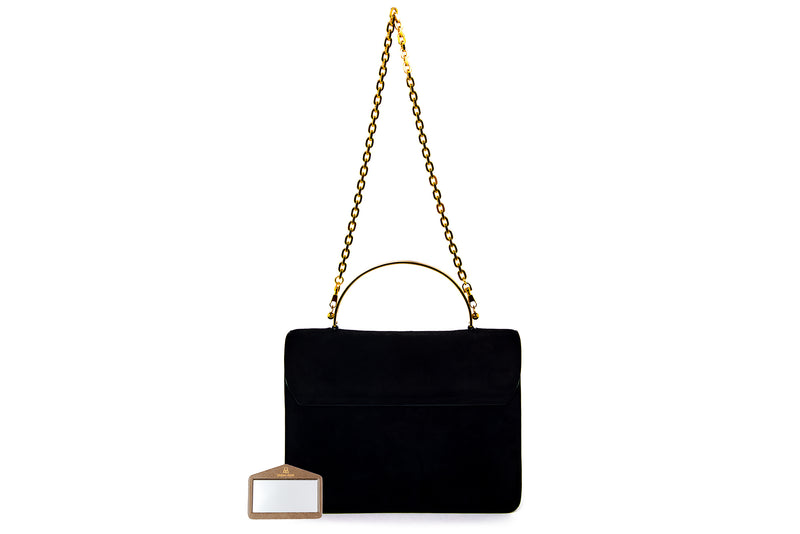 Charlie Top Handle Bag in Black Suede