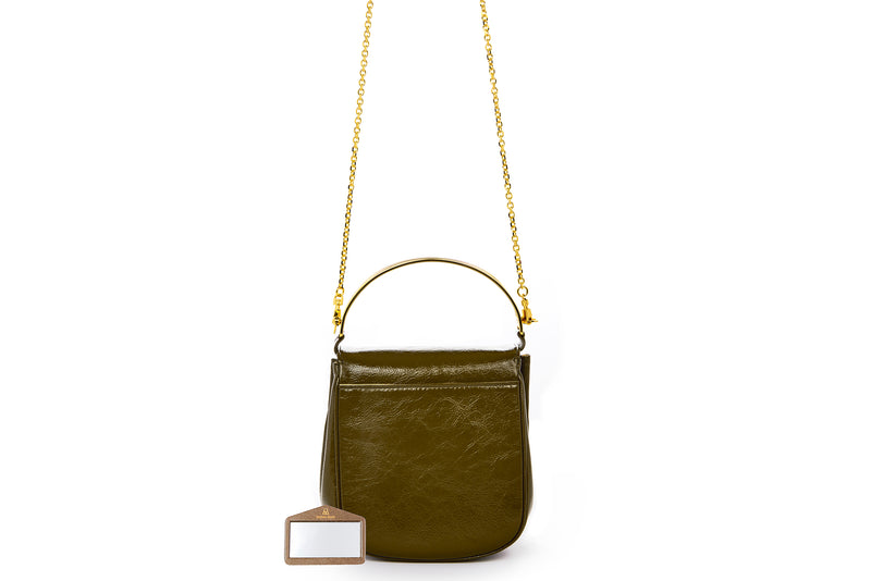 Angel Top Handle Bag in Army Green Leather