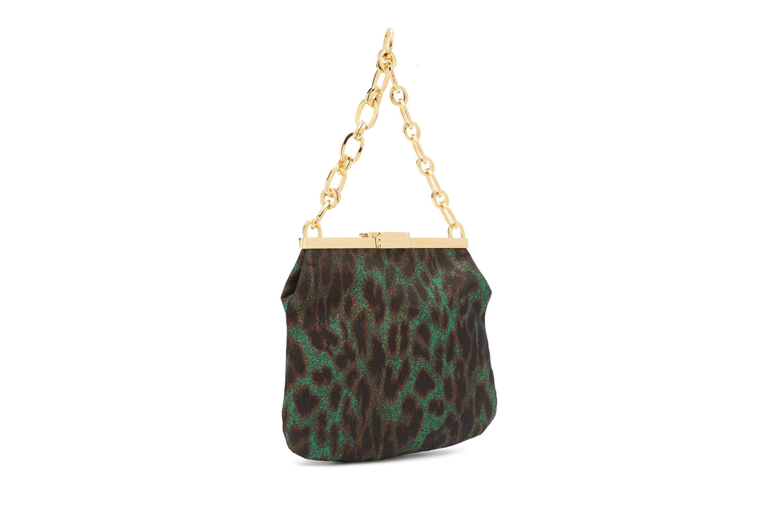 5 AM Clutch in Leopard Jacquard Lurex with 24k Gold Dipped Hardware