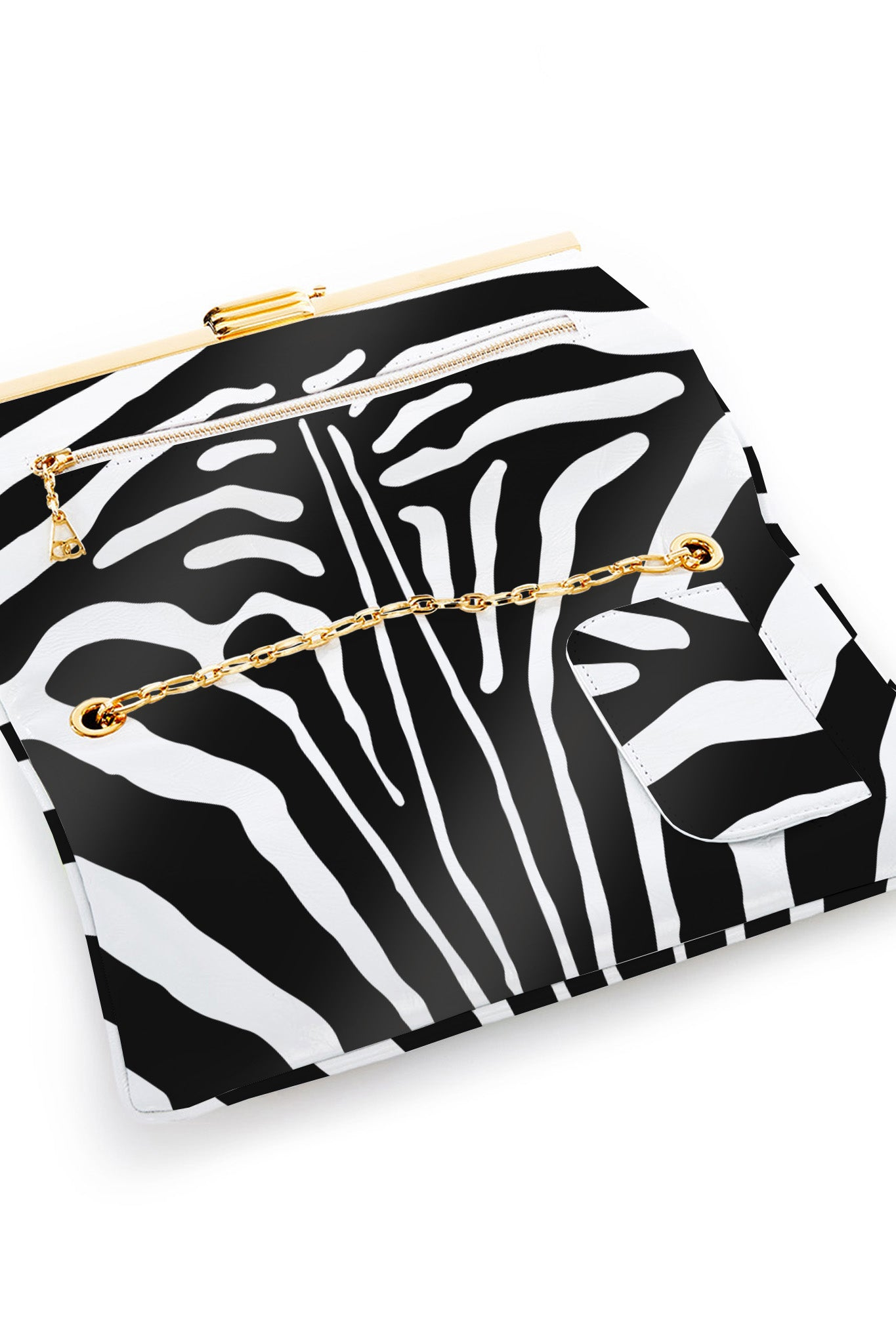 PM Clutch in Zebra Printed Leather