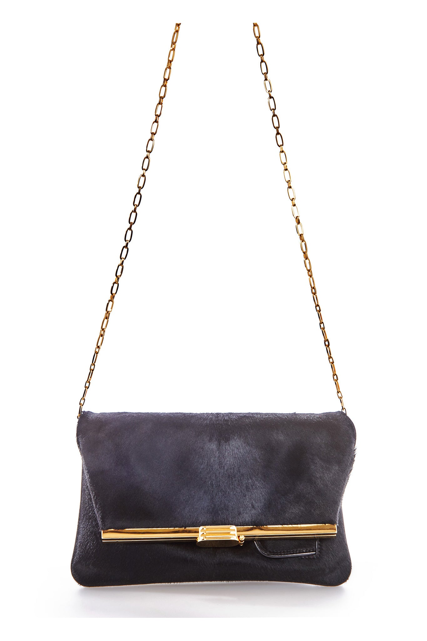 PM Clutch in Black Calf Hair