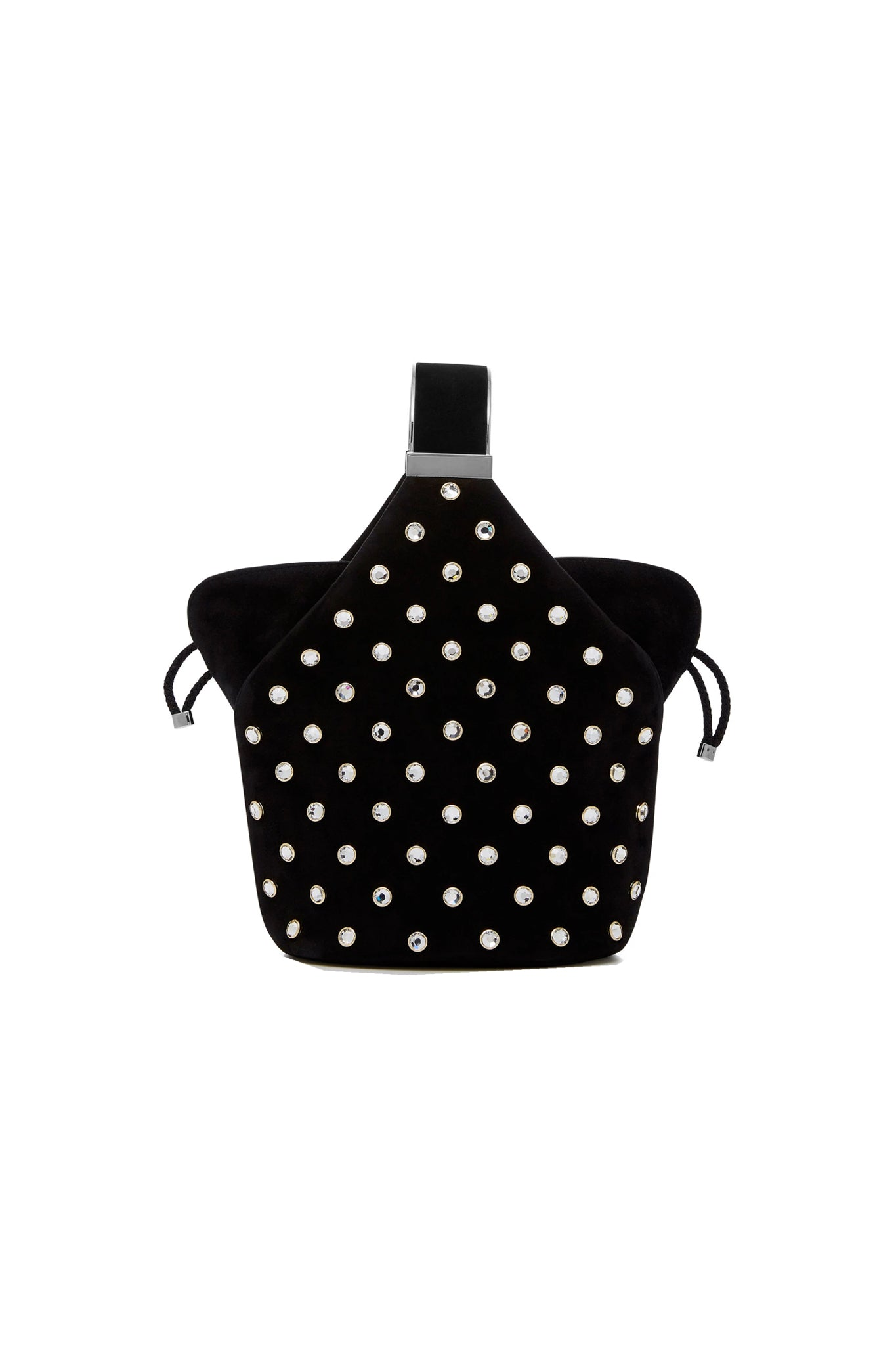 Kit Bracelet Bag in Crystal Studded Black Suede
