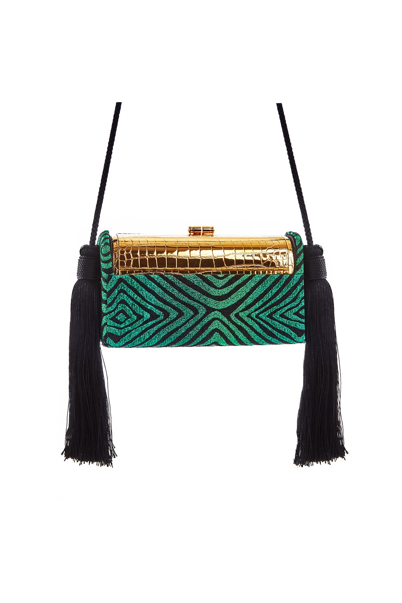 Gold Croco Stamped Régine Minaudière with Emerald Hypnotique Lurex Chenille Tassel Case