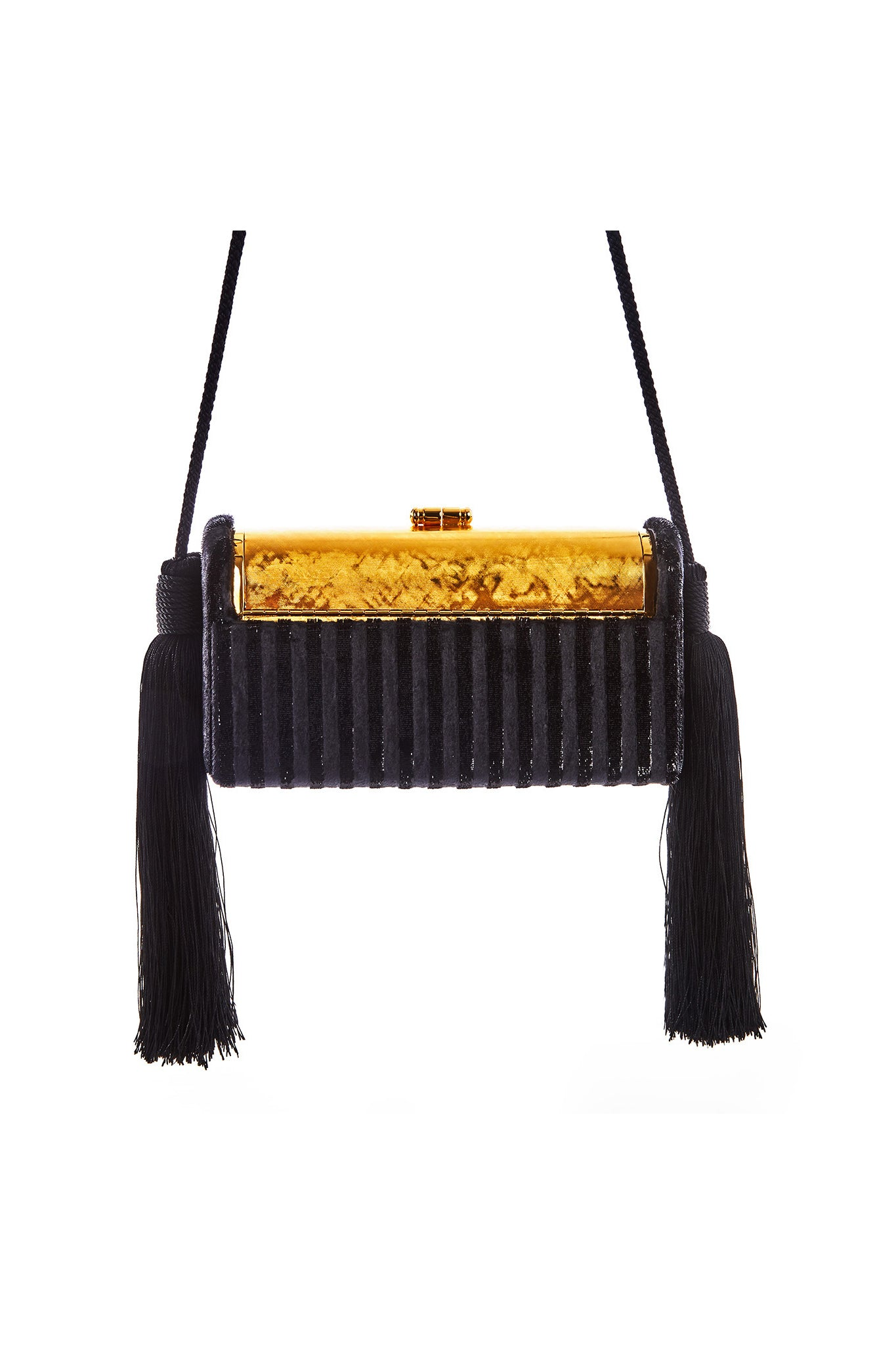 Gold Etched Régine Minaudière with Black Striped Velvet Lurex Chenille Tassel Case
