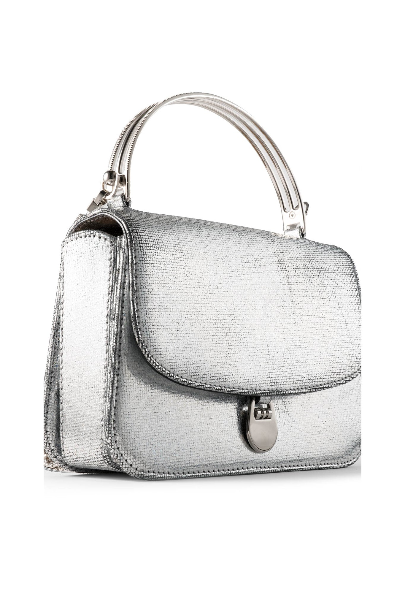 Sabi Top Handle Bag in Silver Holographic Leather