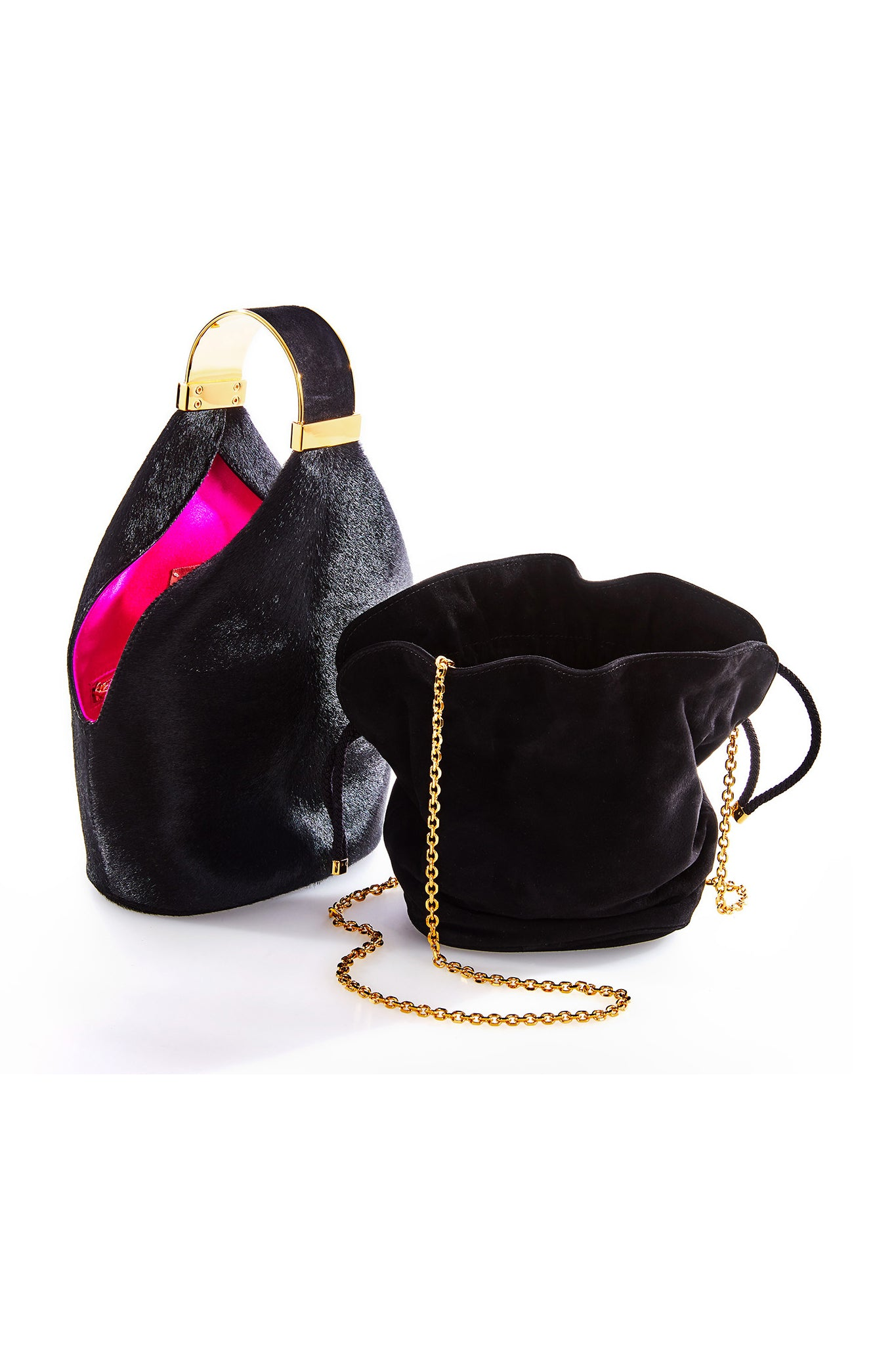 Kit Bracelet Bag in Black Calf Hair