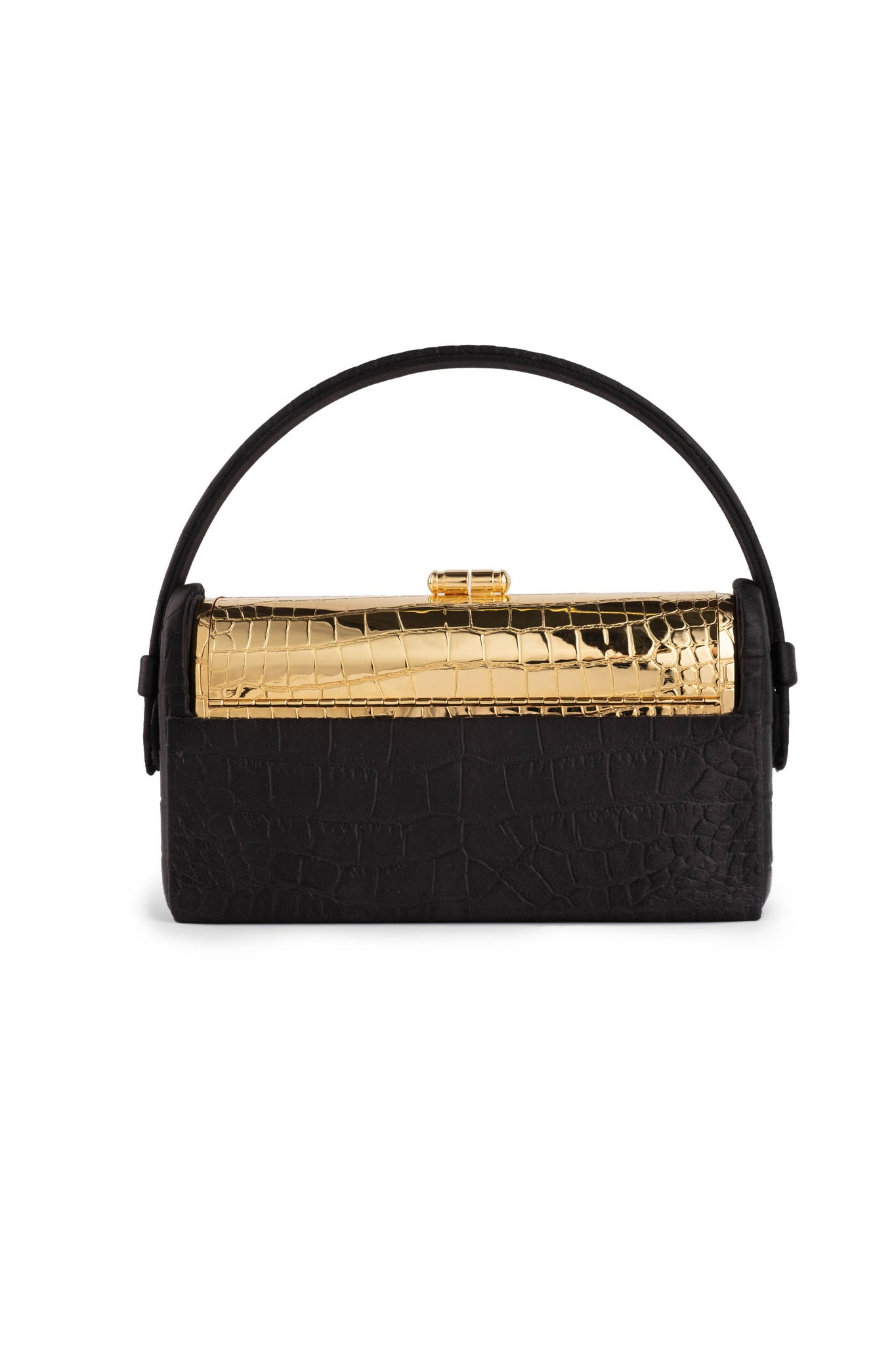 Gold Croco Stamped Régine Minaudière with Black Croco Embossed Satin Case
