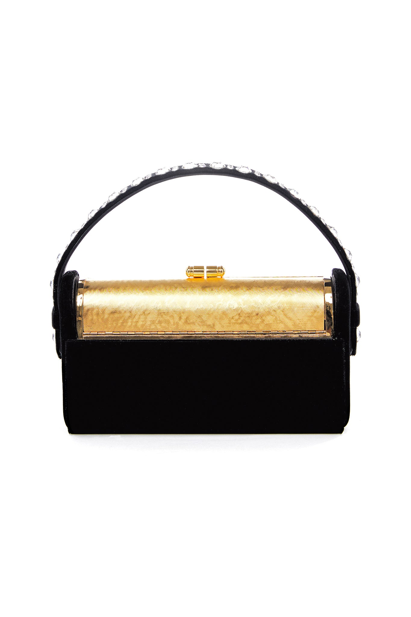 Gold Etched Régine Minaudière with Black Velvet Swarovski Case