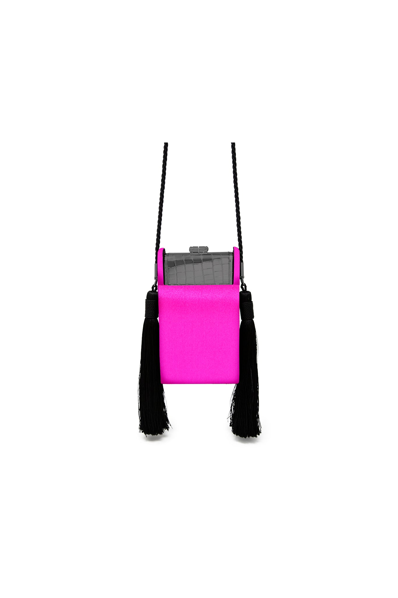 Gunmetal Croco Palladium Phone Case with Fuchsia Satin Tassel Case