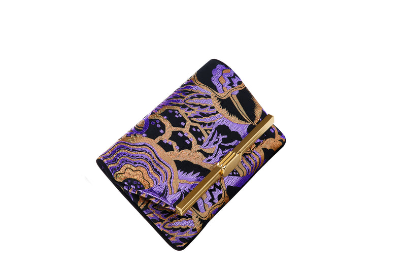 PM Clutch in Purple and Gold Art Disco Metallic Lurex Jacquard