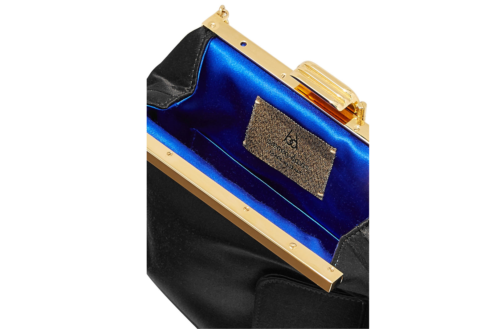 4 AM Tassel Clutch in Black Silk Satin with 24k Gold Dipped Hardware