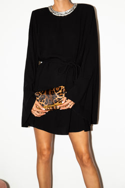 PM Clutch in Leopard Printed Calf Hair