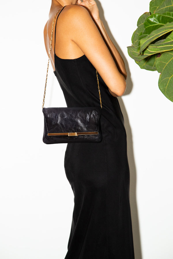 PM Clutch in Black Leather