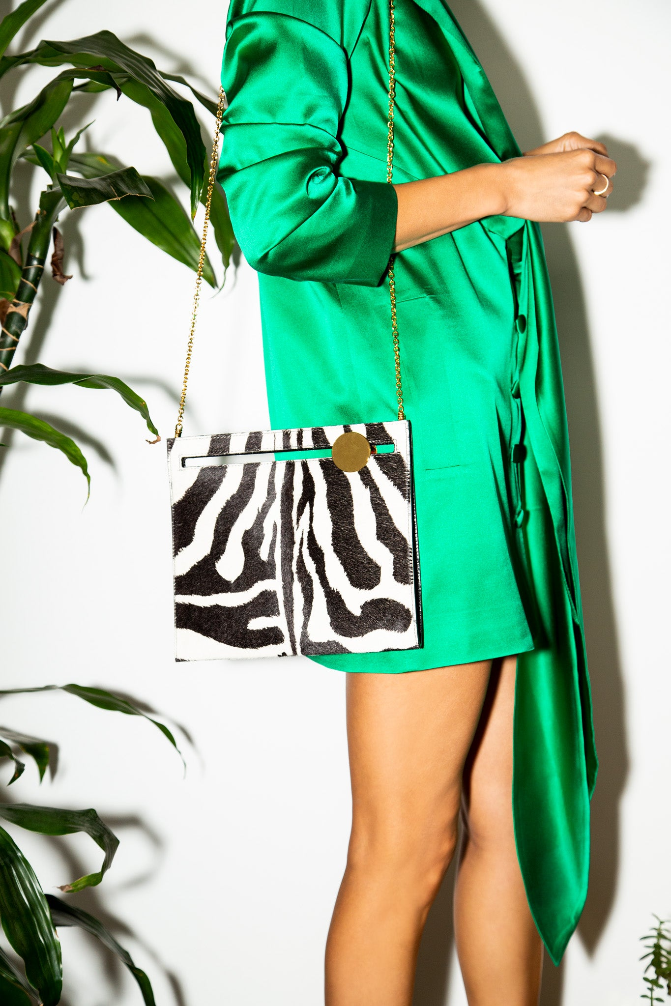 Max Clutch in Zebra Printed Calf Hair