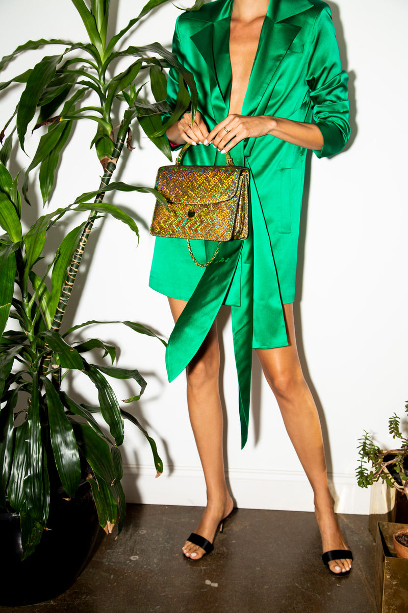 Charlie Top Handle Bag in Gold Lava Leather
