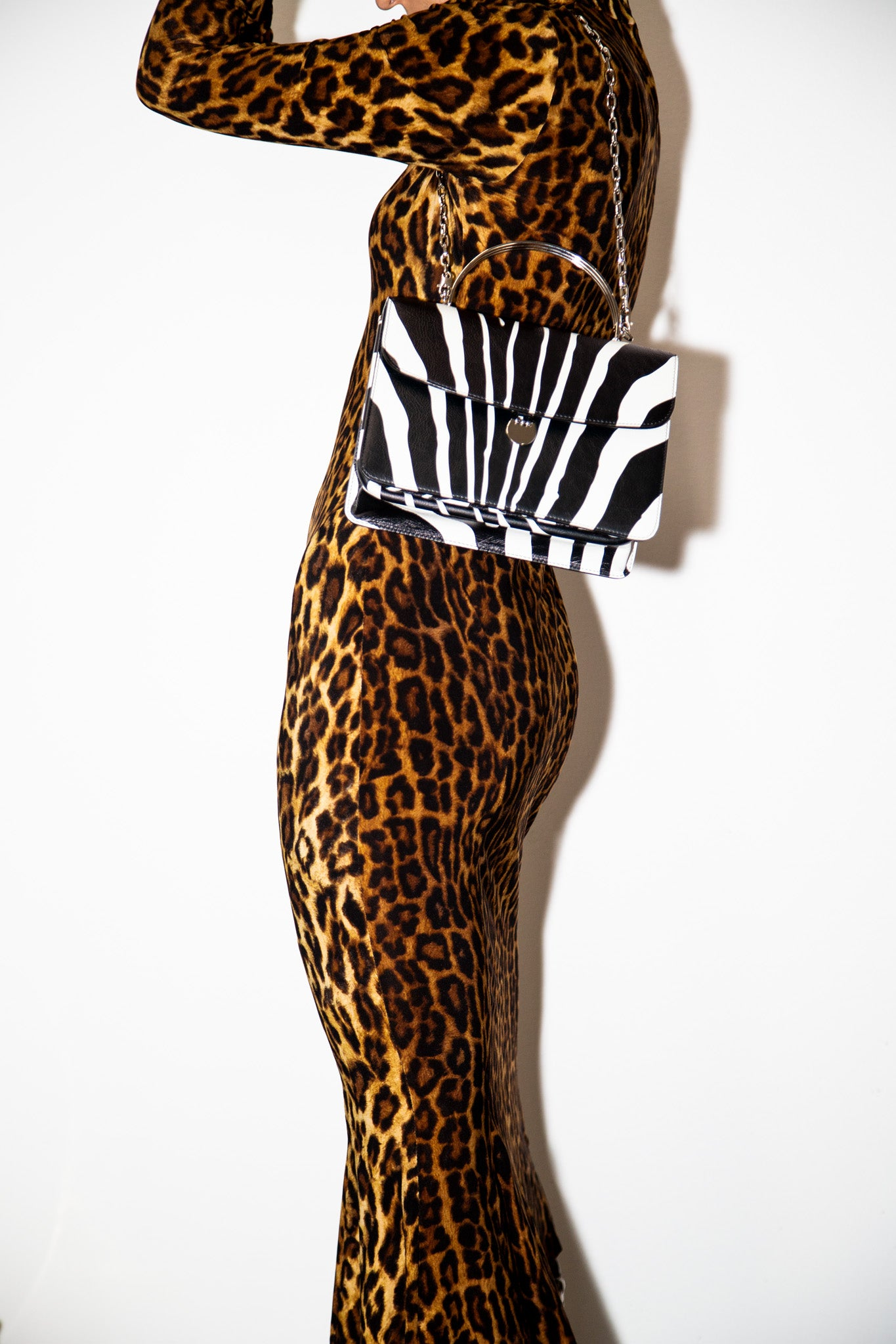 Charlie Top Handle Bag in Printed Zebra Leather