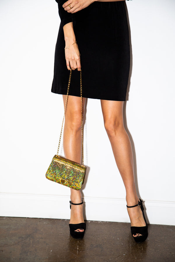 Sabi Shoulder Bag in Gold Lava Leather