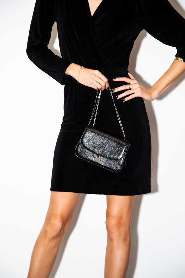 Sabi Shoulder Bag in Black Leather