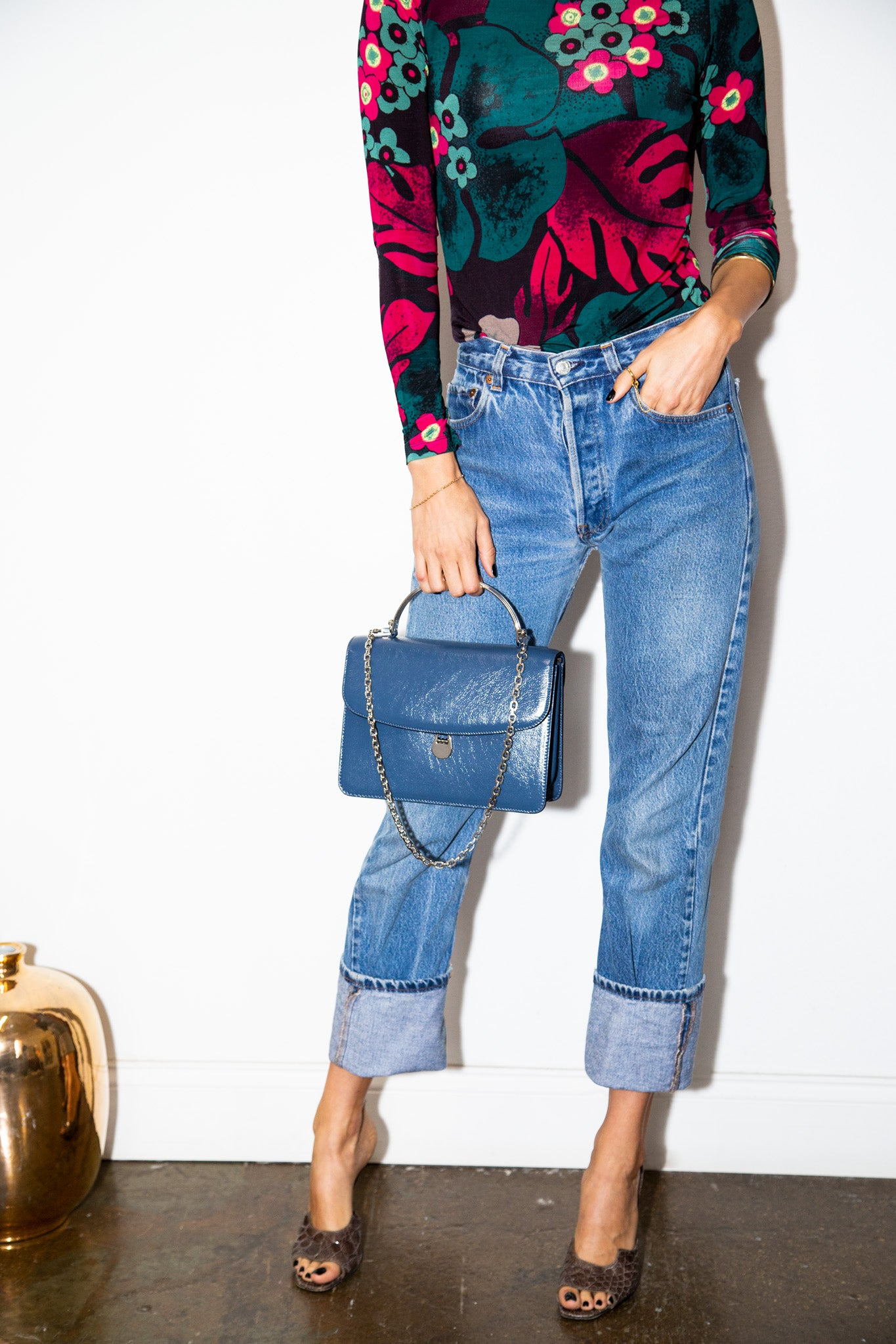 Charlie Top Handle Bag in Denim Blue Leather