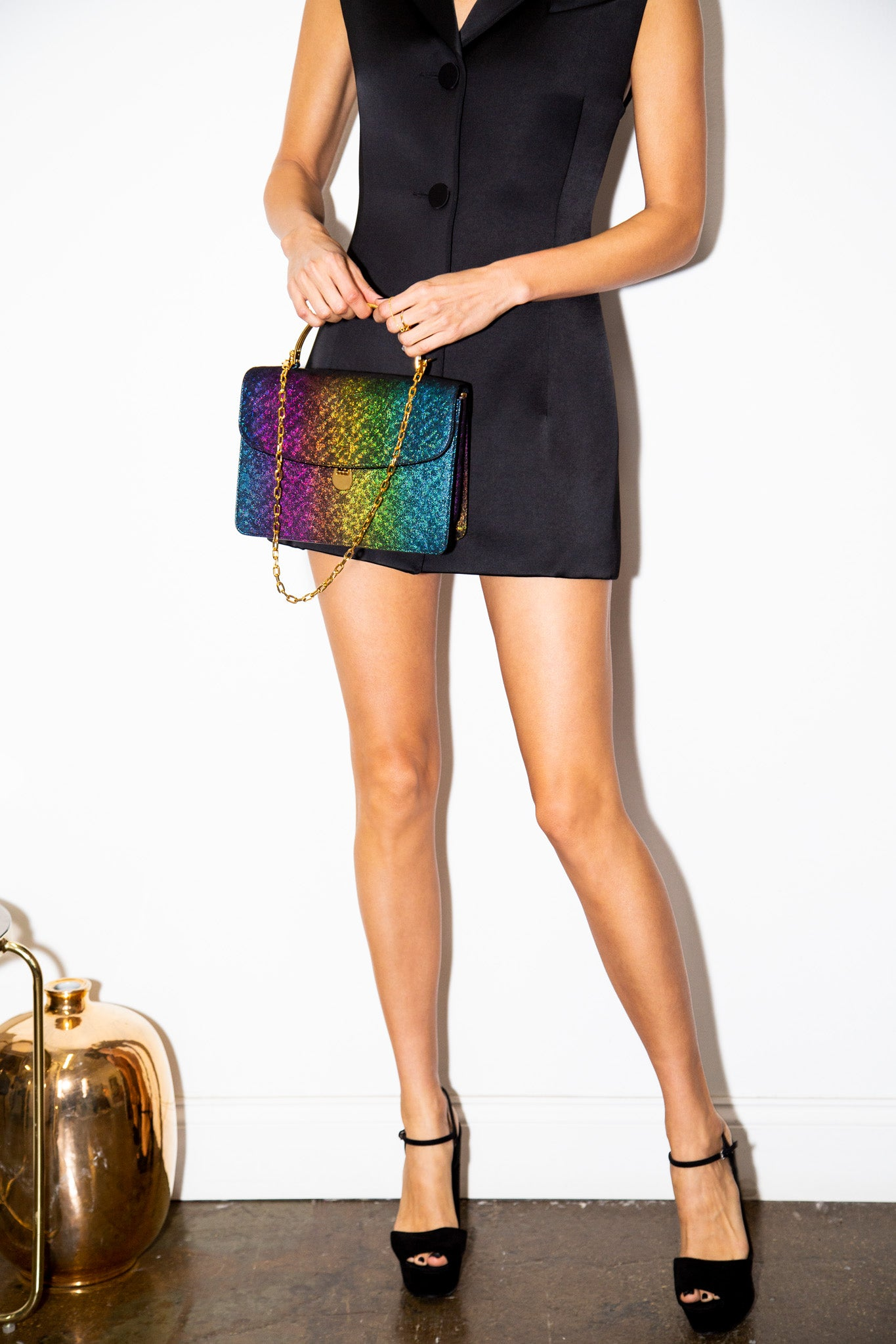 Charlie Top Handle Bag in Rainbow Leather