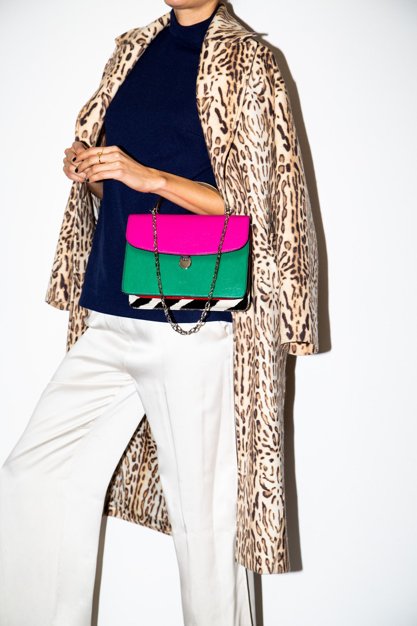 Charlie Top Handle Bag with Zebra Printed Calf Hair Gusset and Tri-Color Leather