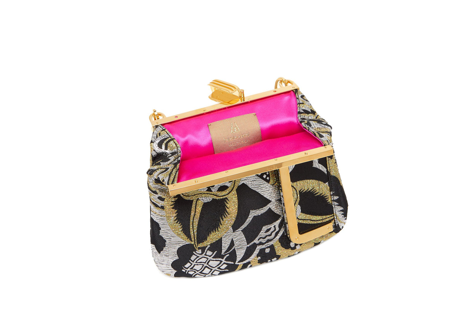 5 AM Clutch in Art Disco Holographic Metallic Lurex Jacquard with 24K Gold Dipped Hardware