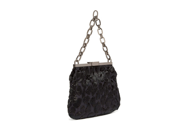 5 AM Clutch in Black Leopard Flocked Lurex