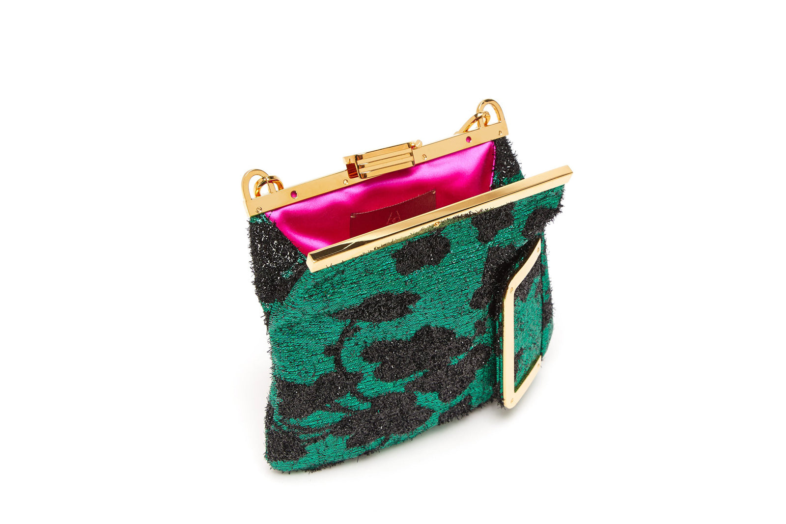 5M Clutch in Green Cherry Blossom Metallic Lurex with 24K Gold Dipped Hardware
