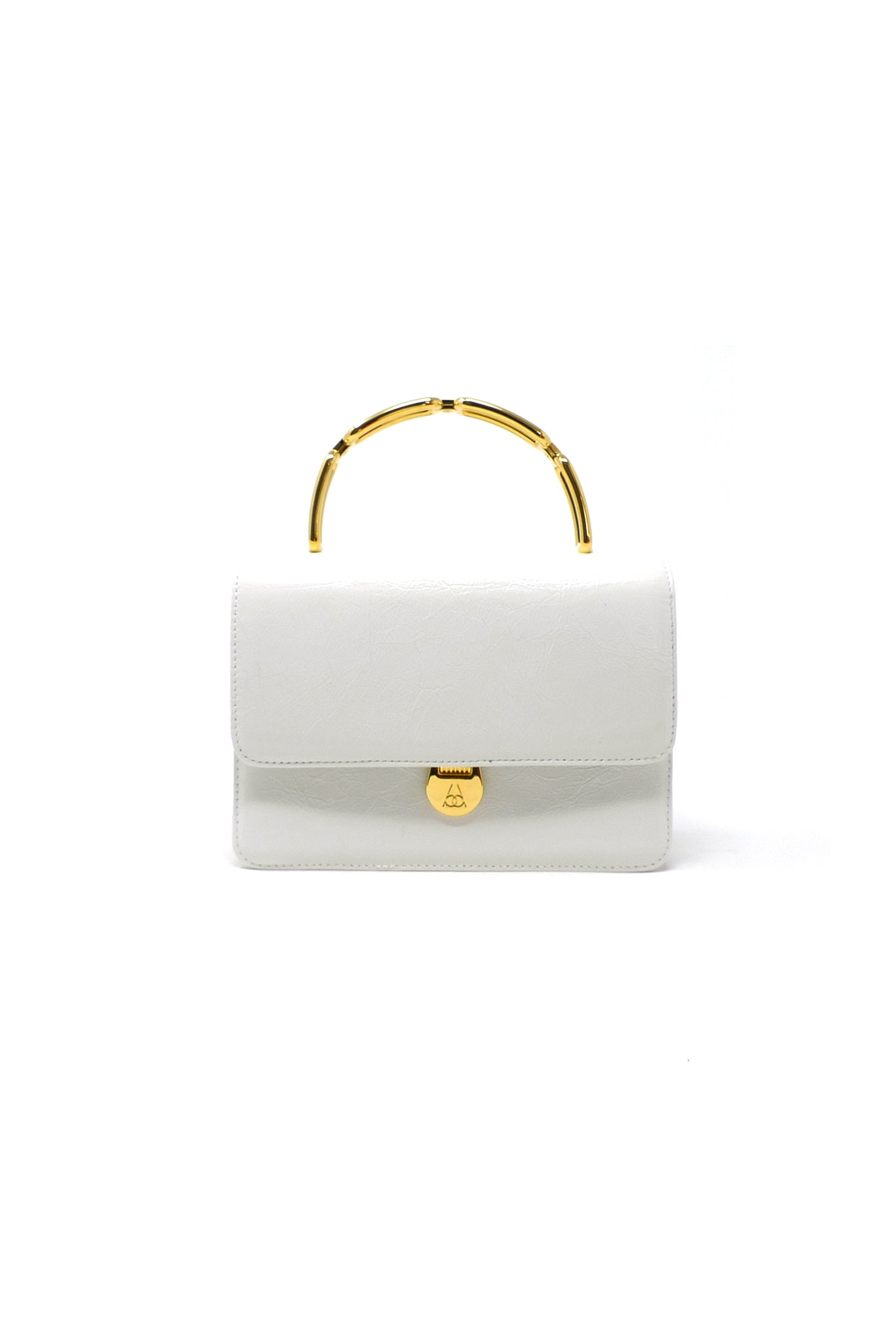Lynx Top Handle Bag in White Leather