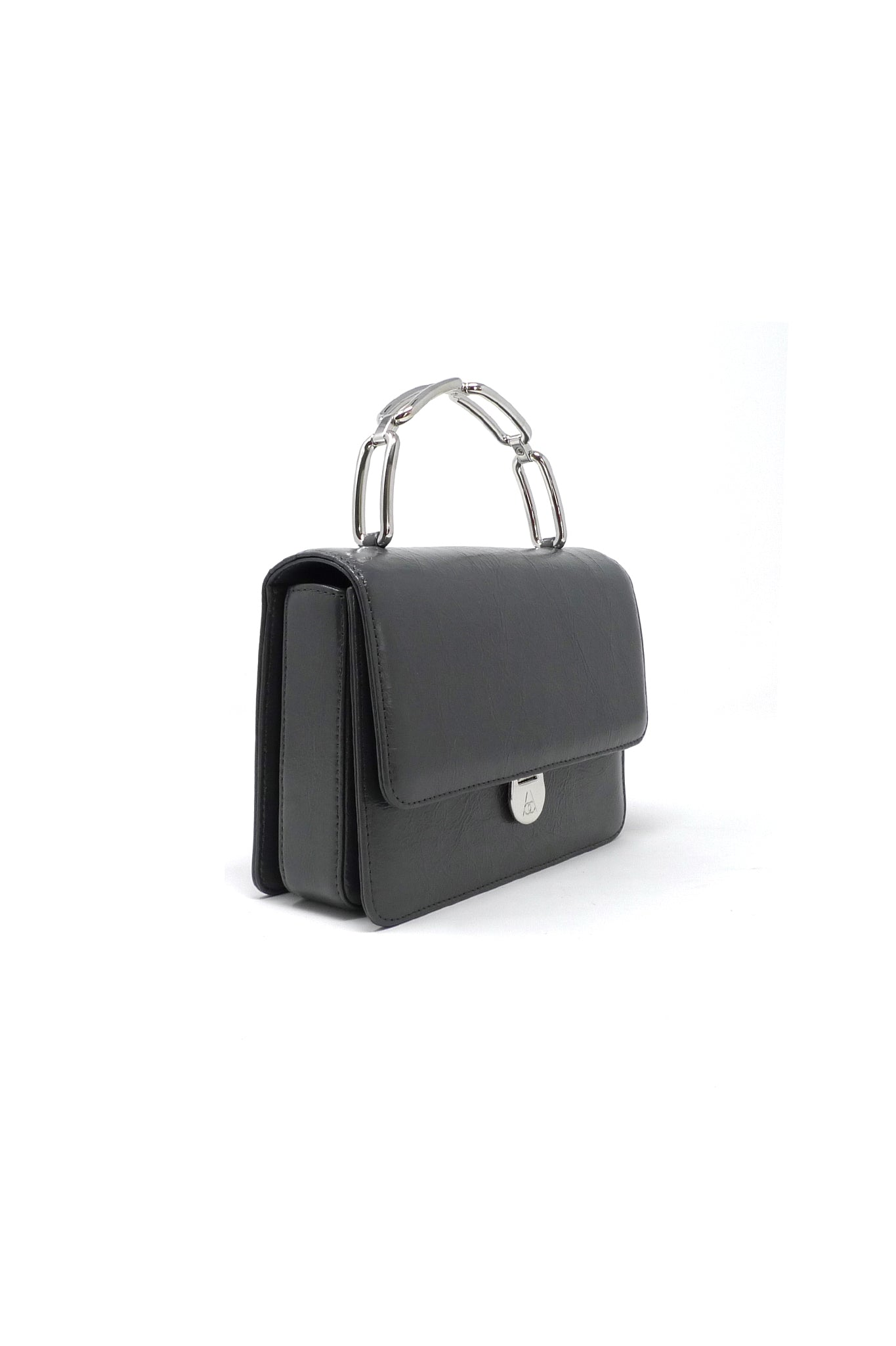 Lynx Top Handle Bag in Grey Leather