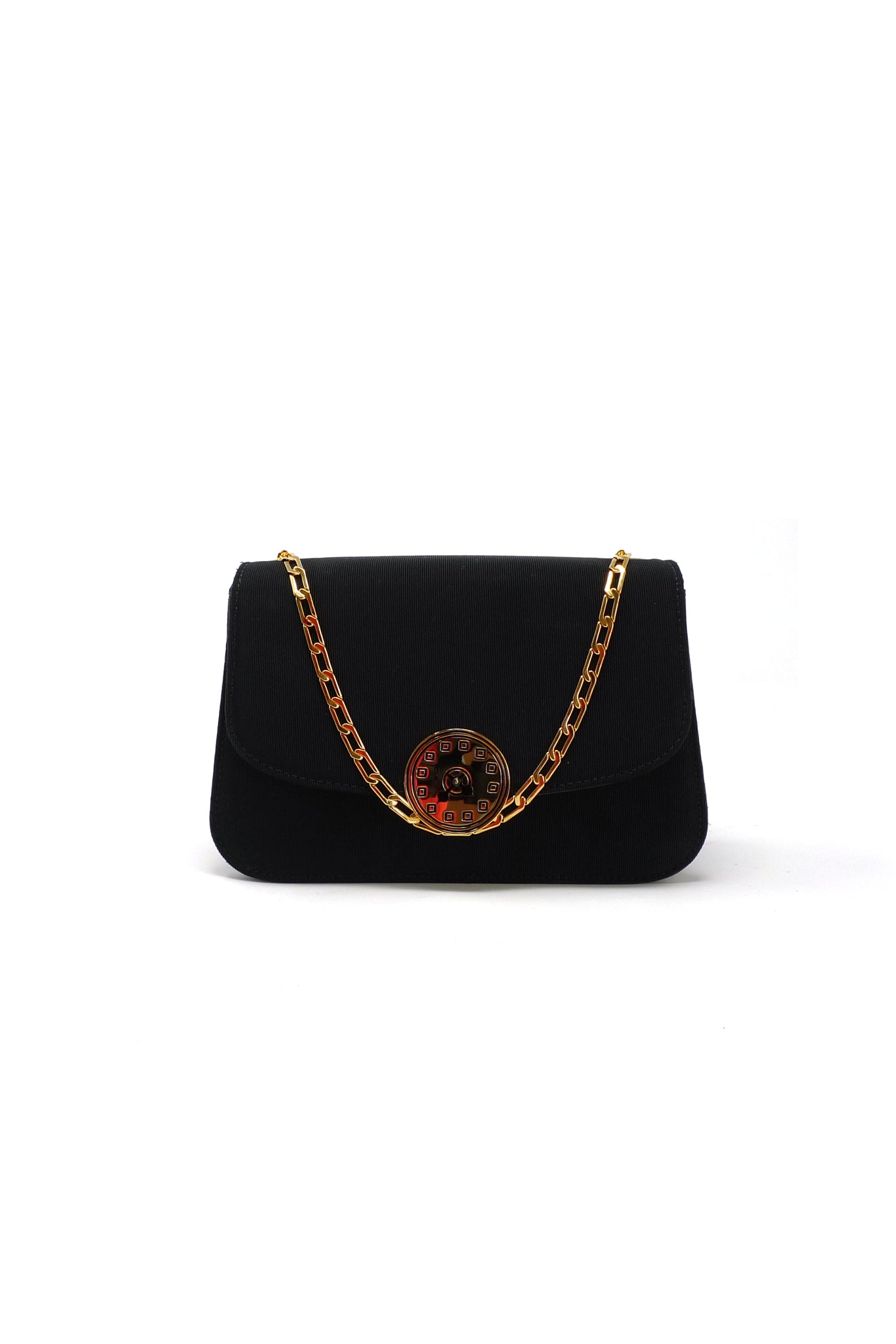 Sabi Shoulder Bag in Black Grosgrain with Gold Etched Clock Detail by Ryan Mettz