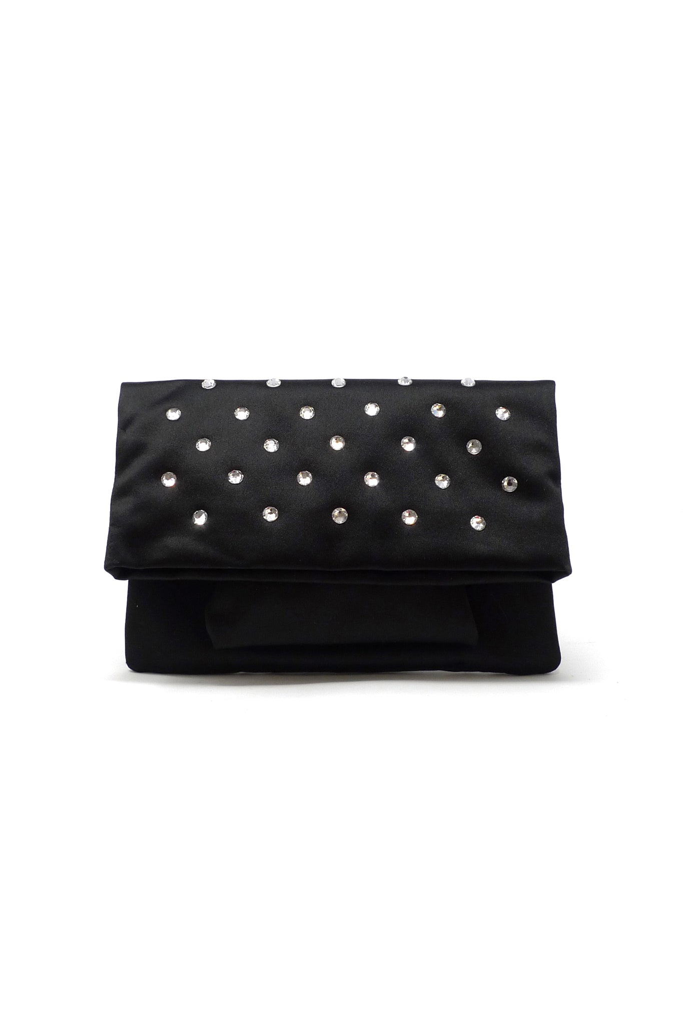 Aperitivo Clutch in Black Satin with Swarovski Studded Crystals