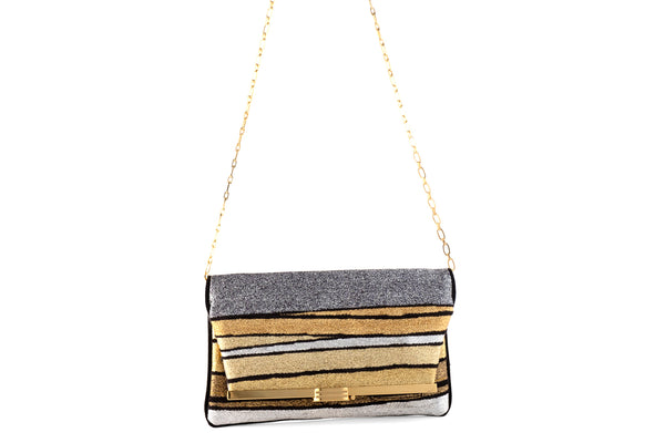 PM Clutch in Halcyon Gold Multi Stripe Metallic Lurex Chenille