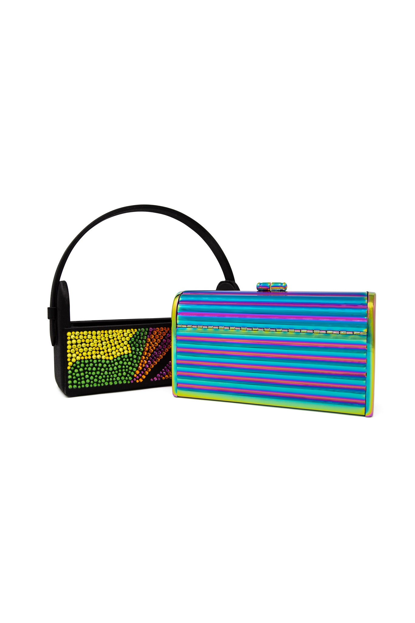 Oil Slick Tubular Régine Minaudière with Copacabana Swarovski Crystal Case