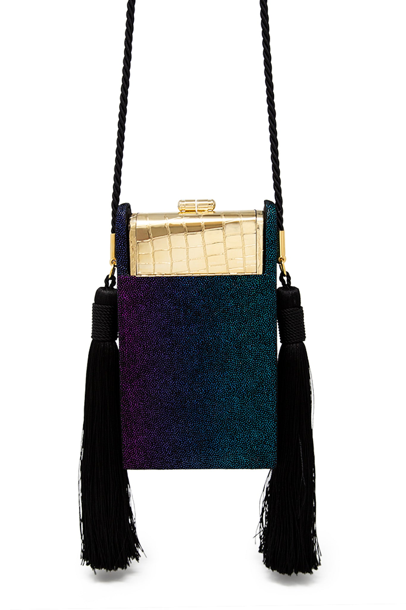 Gold Croco Palladium Phone Case with Rainbow Leather Tassel Case