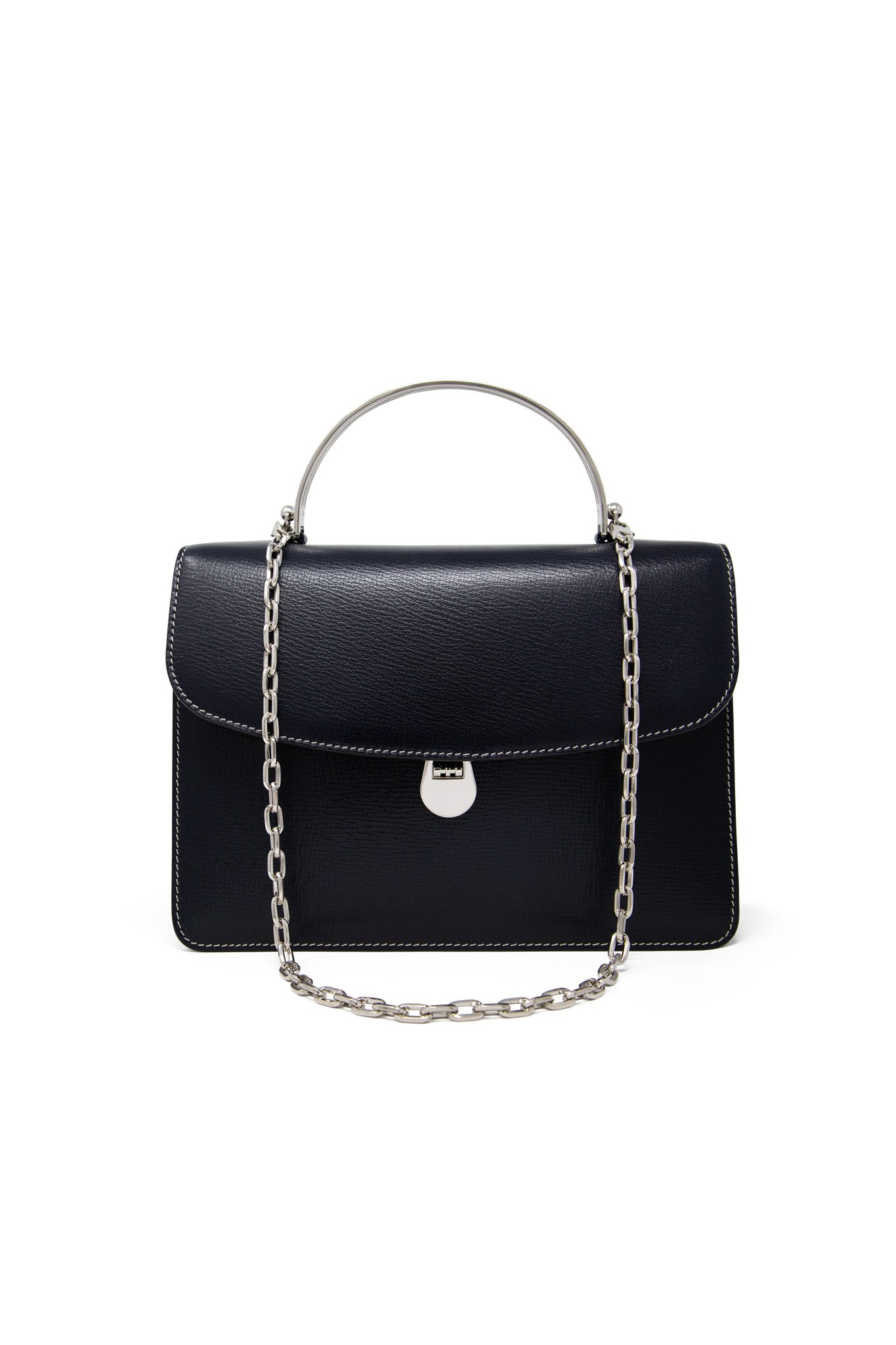 Charlie Top Handle Bag in Navy Leather