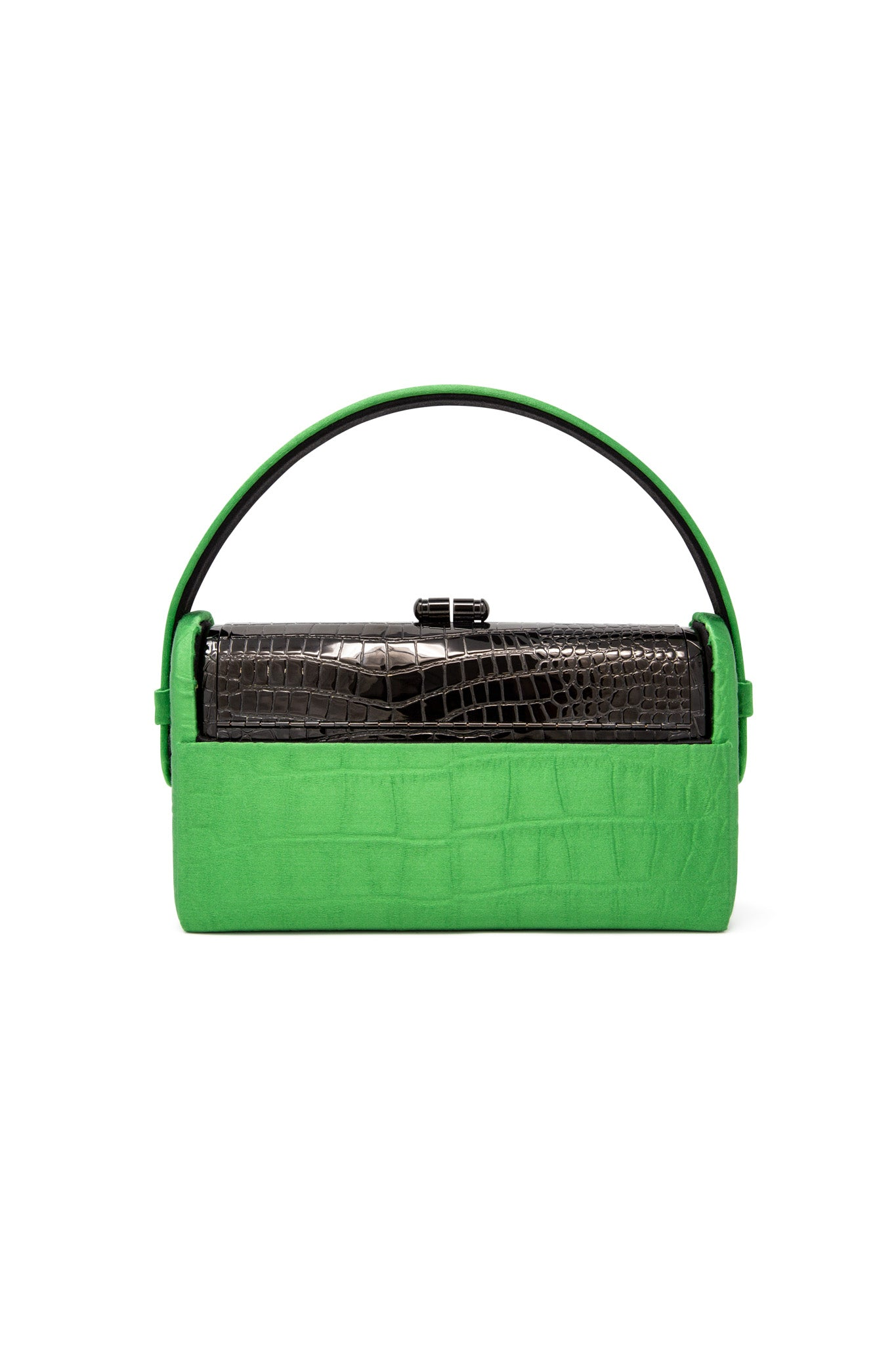 Black Croco Stamped Régine Minaudière with Grass Crocodile Embossed Satin Case
