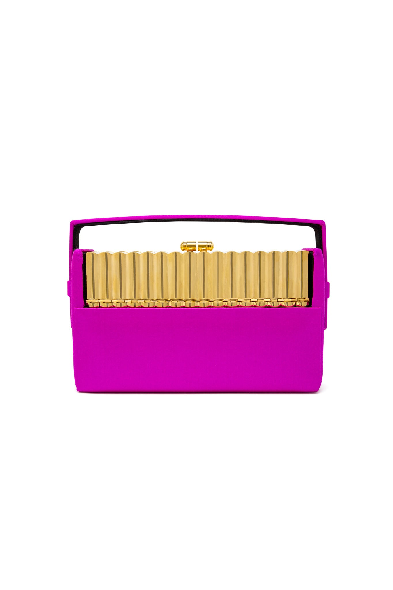 Gold Tubular Xenon Minaudière with Fuchsia Satin Case