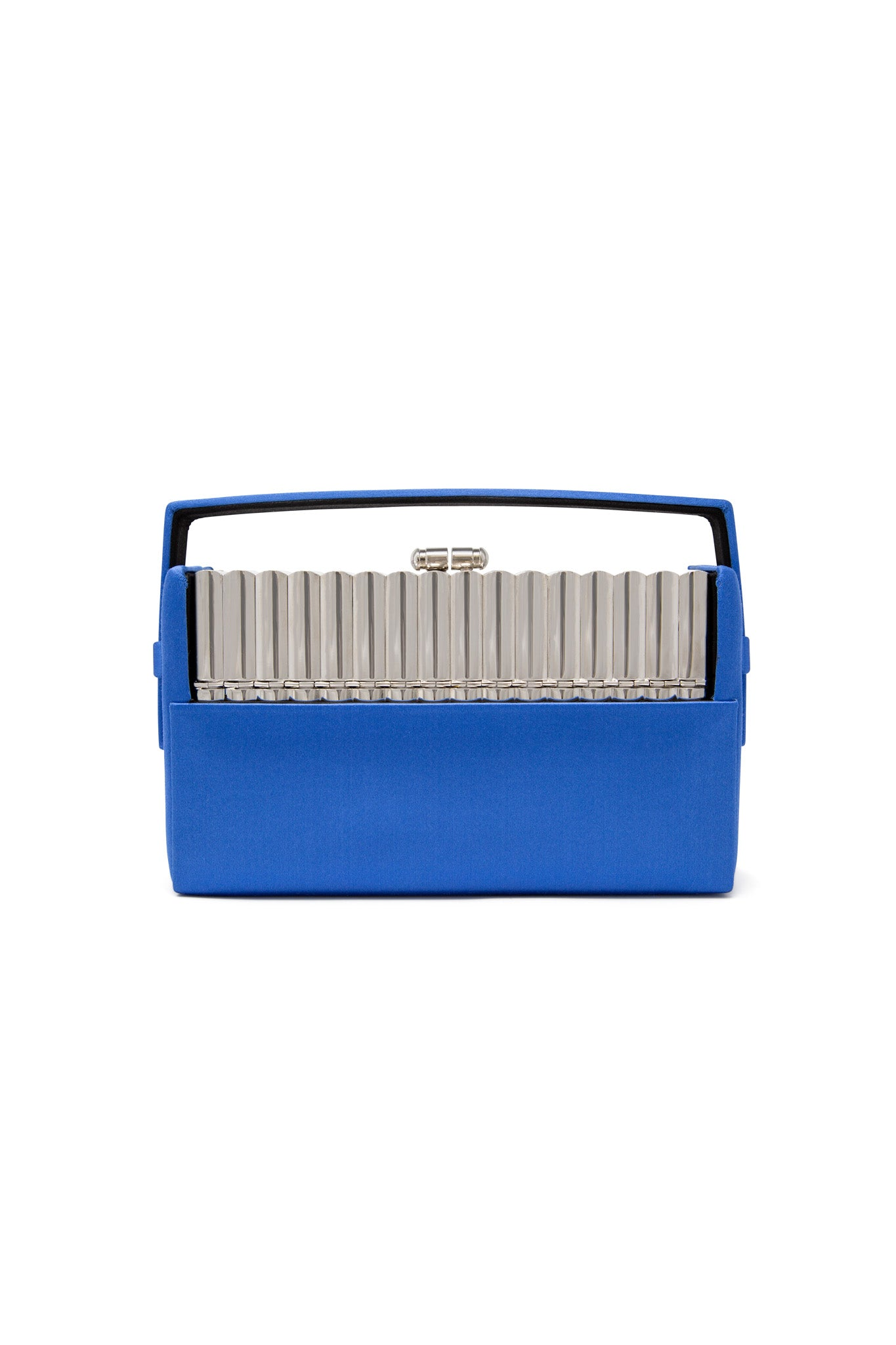 Silver Tubular Xenon Minaudière with Blue Satin Case