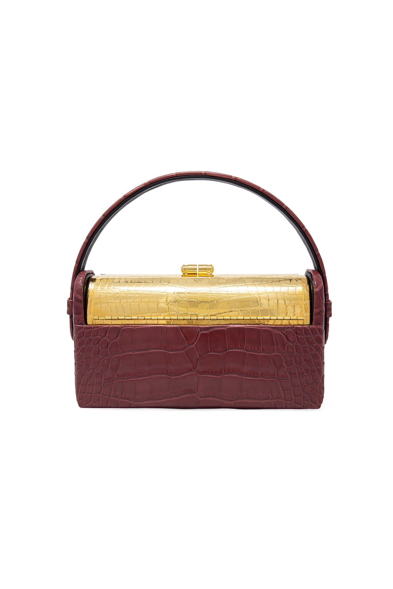 Gold Croco Régine Minaudière with Merlot Shiny Alligator Case
