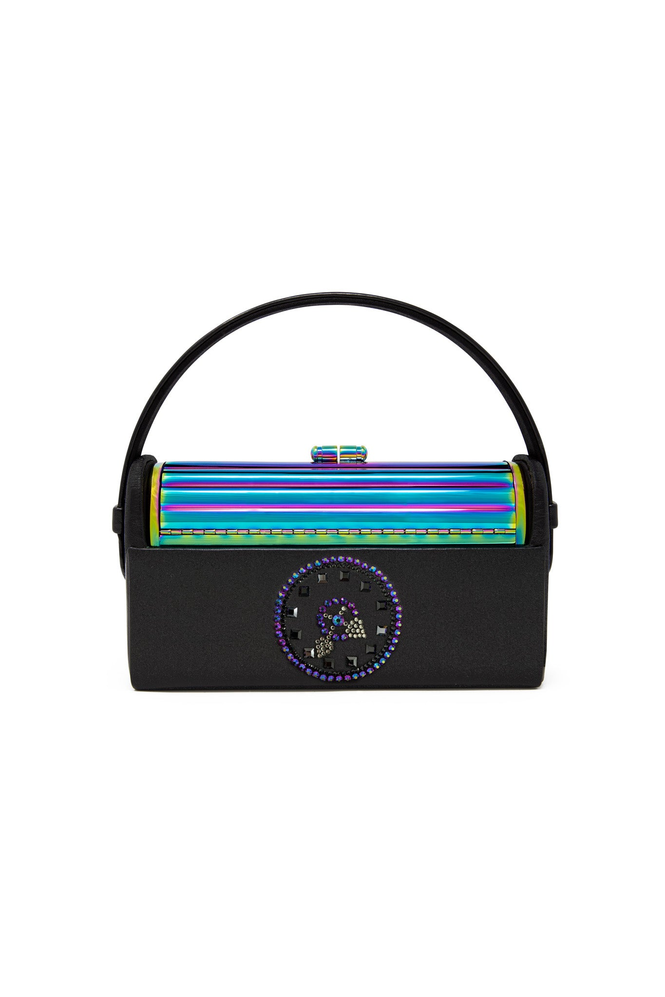 REGINE OILSLICK TUBULAR MINAUDIERE WITH BLACK SATIN CASE AND IRIDESCENT SWAROVSKI CRYSTAL CLOCK DETAIL BY RYAN METTZ