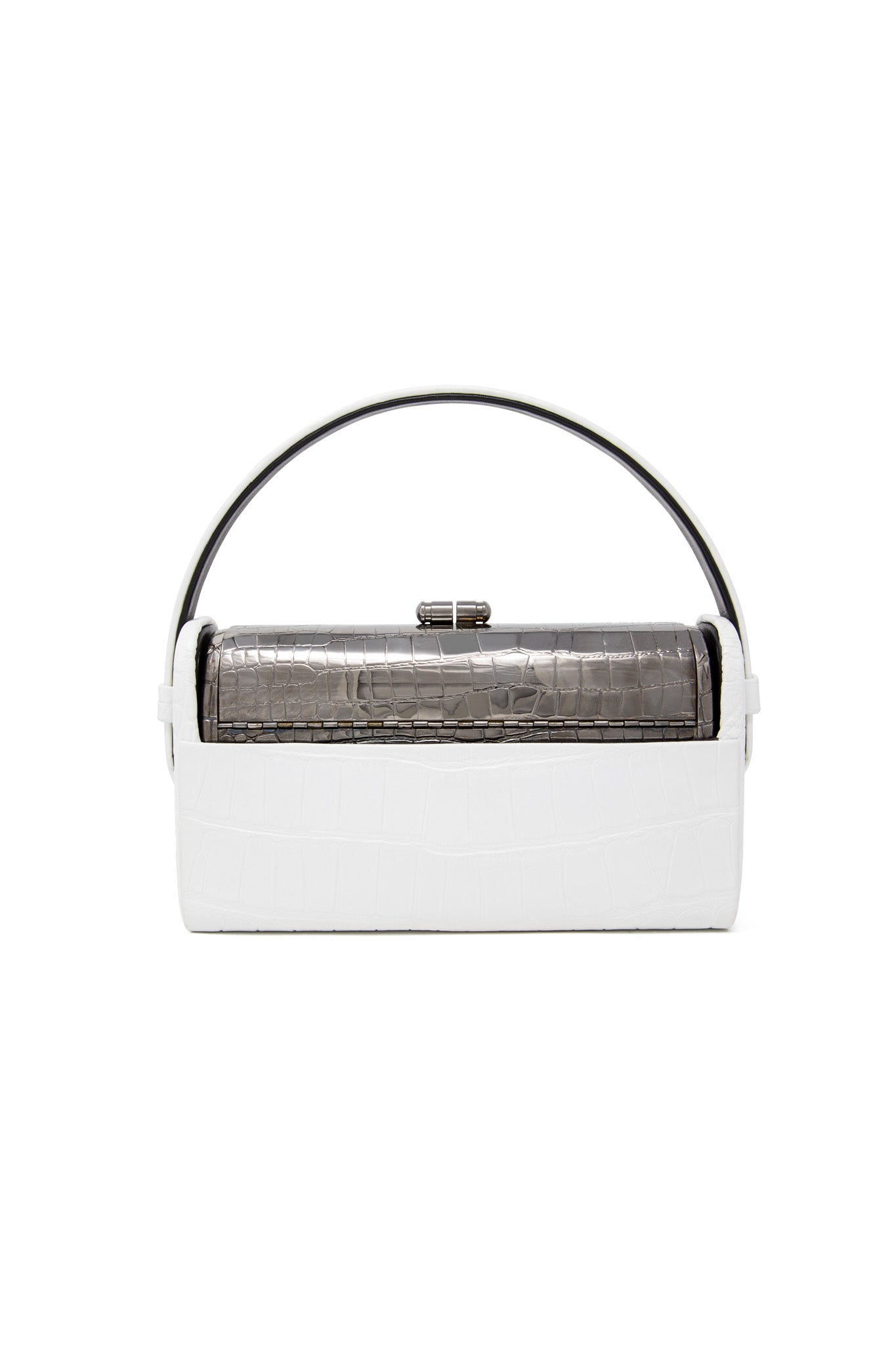 Gunmetal Croco Régine Minaudière with White Shiny Alligator Case