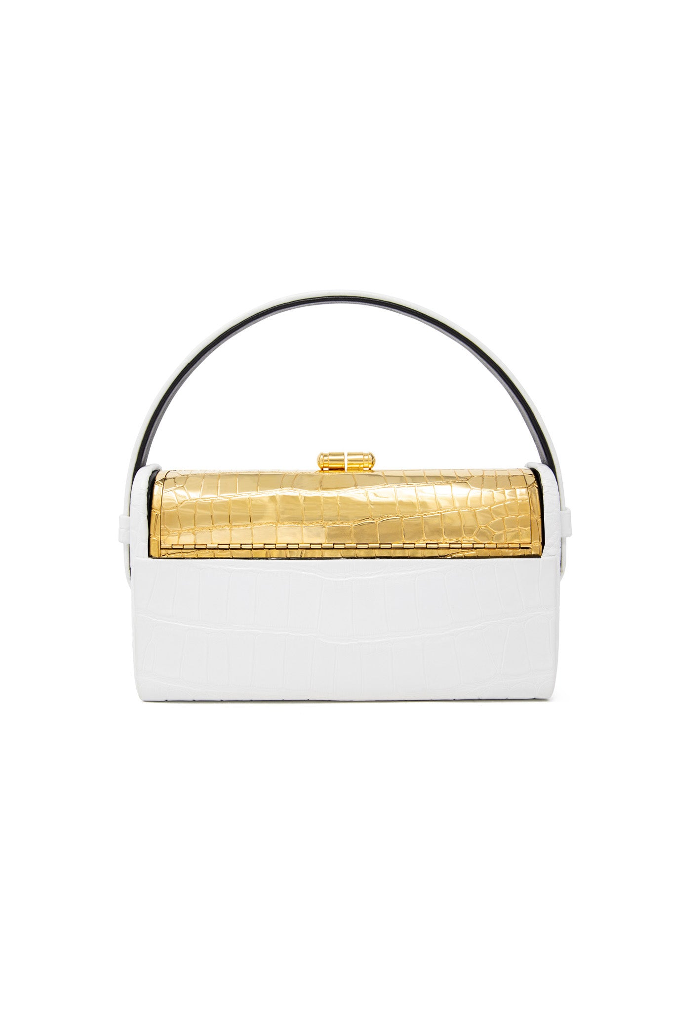 Gold Croco Régine Minaudière with White Shiny Alligator Case